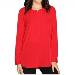 NYDJ Red Blouse Jewel/Round Neckline